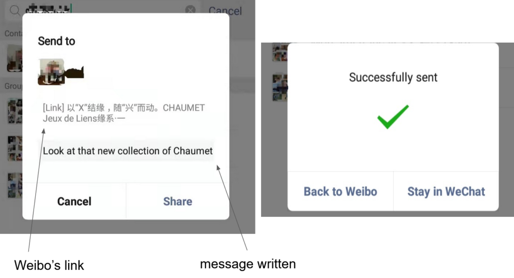 Sending a message to a friend on Wechat including a Weibo's link